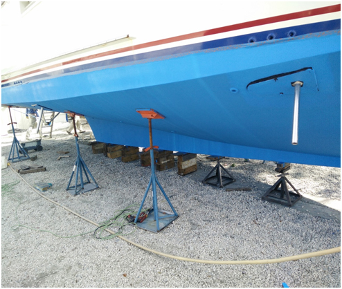 Outer Plate installed on 53' Defever – His and Hers Gyro Gale 4-fin zero-speed system for Trawler